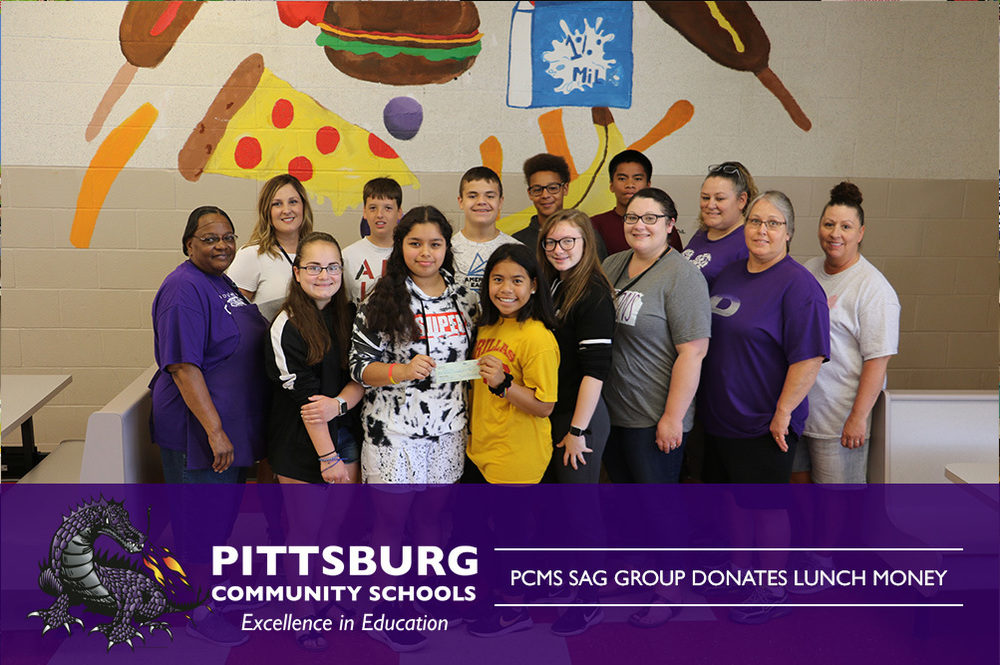 PCMS SAG Group Donates Lunch Money
