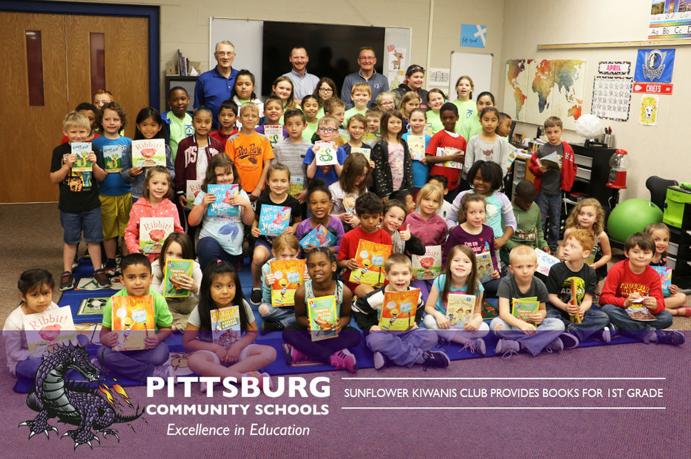 Sunflower Kiwanis Club Provides Books for 1st Grade